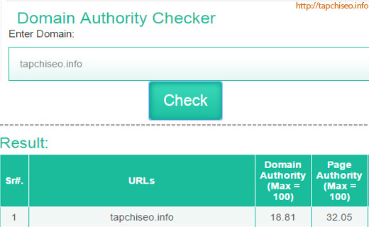 Công cụ check Page Authority và Domain Authority ONLINE